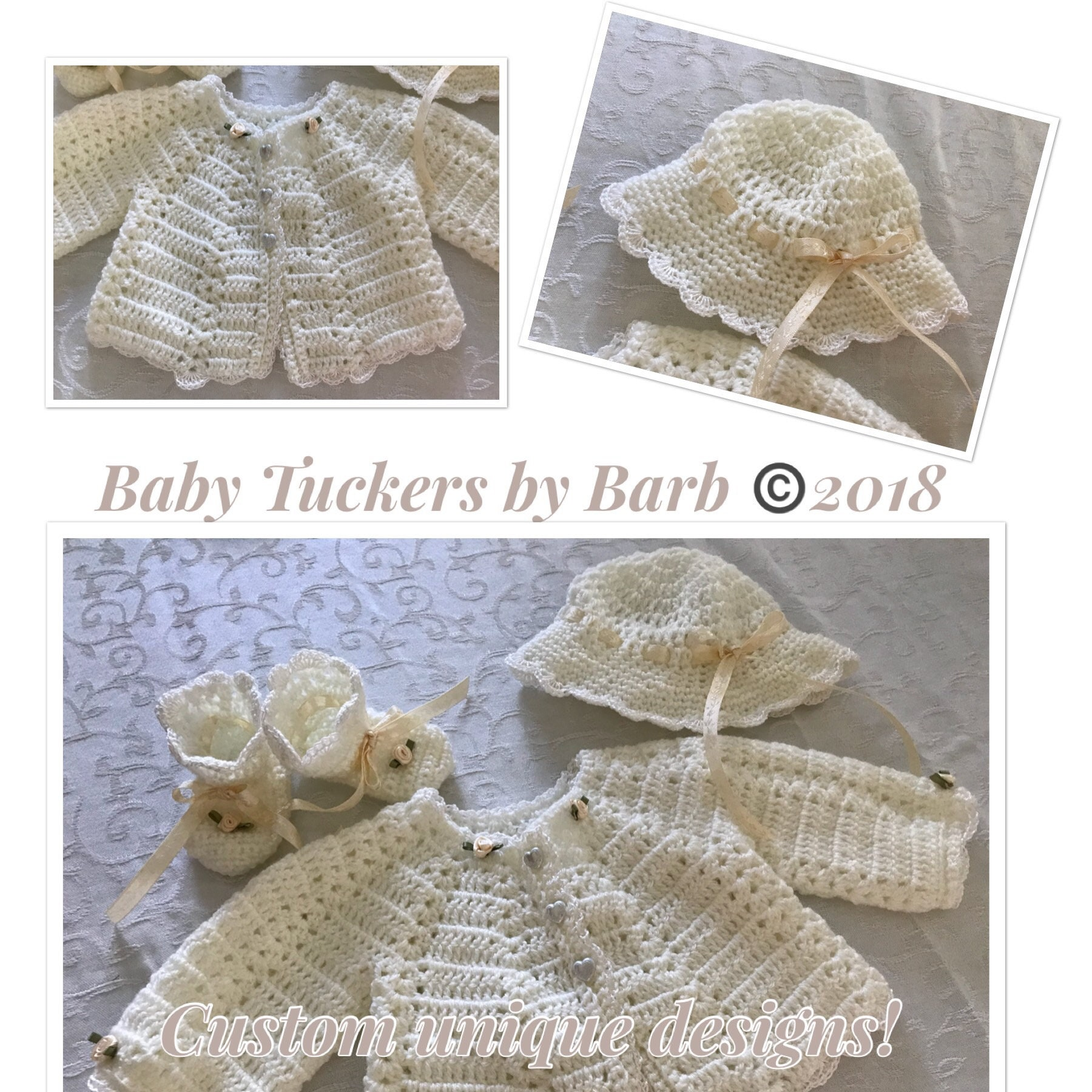 9e3bdd266 Baby Crochet layette sweater setoff white with trim4