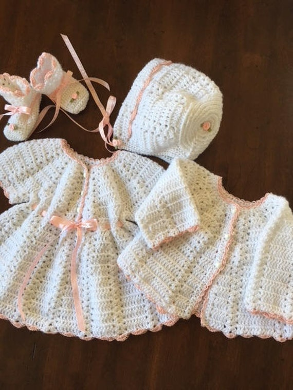 6e0d45f31 Hand crochet layette baby coming home outfit 4 piece dress
