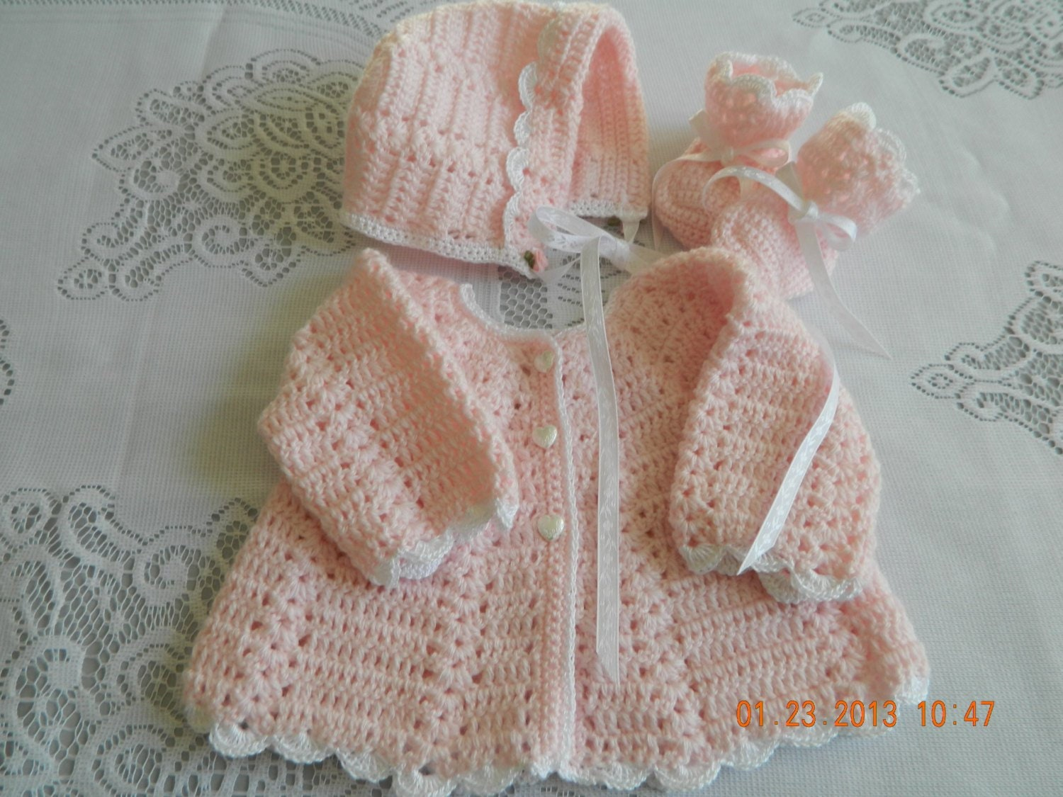 da19e1903 Baby shower giftlayette crochet sweater set many colors