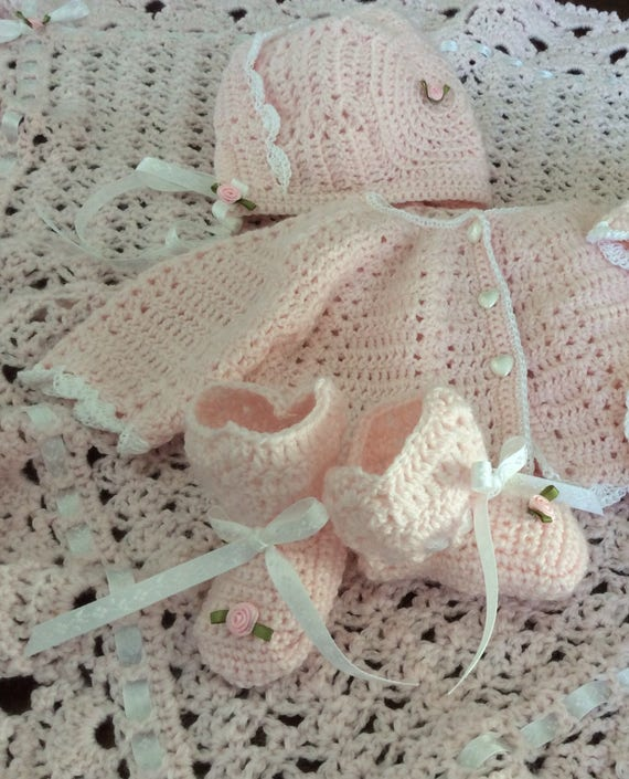Baby layette AND blanket set,crochet sweater set with blanket, custom design, shower gift,many colors,soft quality baby yarn