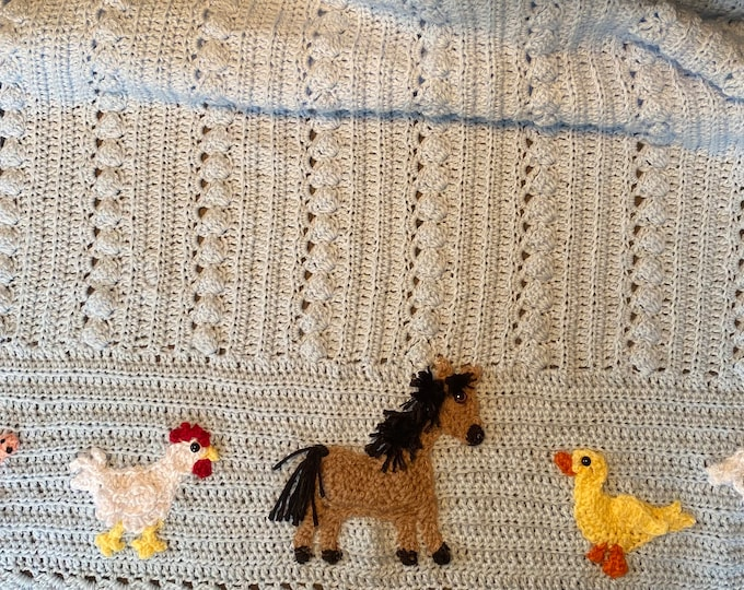New Crochet farm animal baby blanket, ORIGINAL BABY TUCKERS design, duck, pig, chicken, pony, lamb,2 sizes, your choice of animals and color