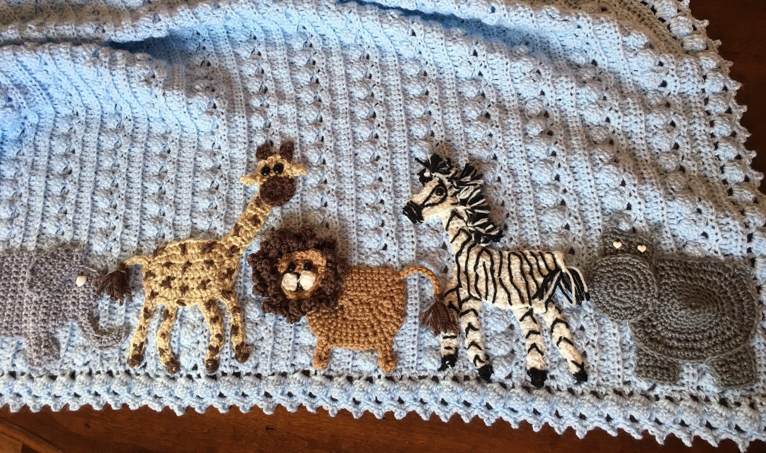 Crochet Animal Baby Blanket Safari Baby Blue Jungle