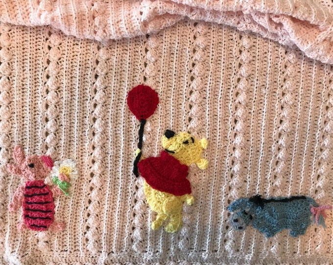 Crochet Pooh Disney baby blanket, Custom, unique, one of a kind heirlooms, you chose colors and appliqués,  Baby Tuckers exclusive design