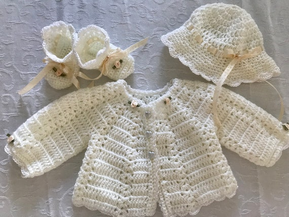 de8ddce3c Baby Crochet layette sweater setoff white with ecru trim4