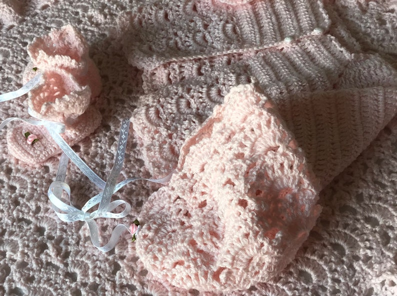 custom design,shower gift,many colors,soft quality baby yarn Baby crochet layette AND blanket set,crochet sweater set with matching blanket