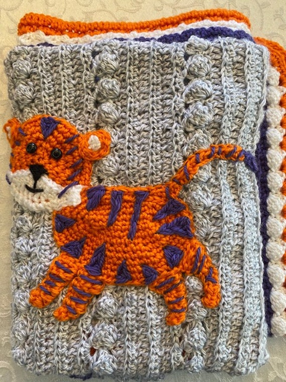 Clemson tigers crochet baby blanket, original design, any school/team/mascot available/your colors, 2 sizes, Baby shower gift,custom orders