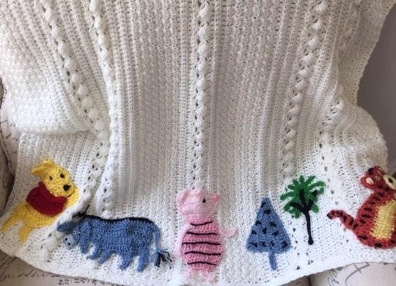 Disney Winnie the Pooh crochet baby blanket, Piglet, Tigger, Eeyore, Christopher Robin, rabbit,Kanga/Roo, owl,Original Baby Tuckers design