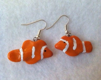 Polymer Clay Percula Clownfish Earrings, Orange, White, Dangle, Anenome Fish, Kawaii