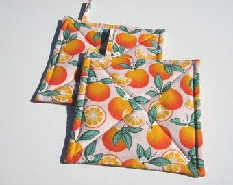 Kitchen Decor Citrus Fruits Potholders Oranges Hot Pads Kitchen