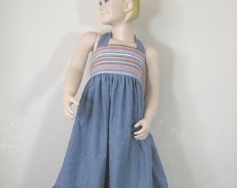 Girl's Halter Dress, Blue Chambray Boho Dress, Girls Maxi Dress, Girl's Summer Dress Size 5/6, Summer Vacation, Resort Wear, Ready to Ship