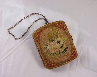 Antique 1800's Needlework Stitched Purse