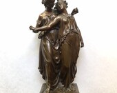 Neoclassical Bronze Sculpture After Henri Etienne Dumaige, Two Maidens 19th C.