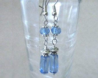 Long Blue Earrings, Bright Sky Blue Glass Bead & Silver Accent Dangle Earrings, Handmade Beaded Jewelry, Simple Elegant Earrings Unique Gift