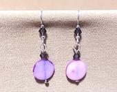 Shell Crystal Earrings, Lavender Mother of Pearl Disc Dangle Earrings w Amethyst Swarovski Crystals Purple Shell Coin Bead Dangle Earrings