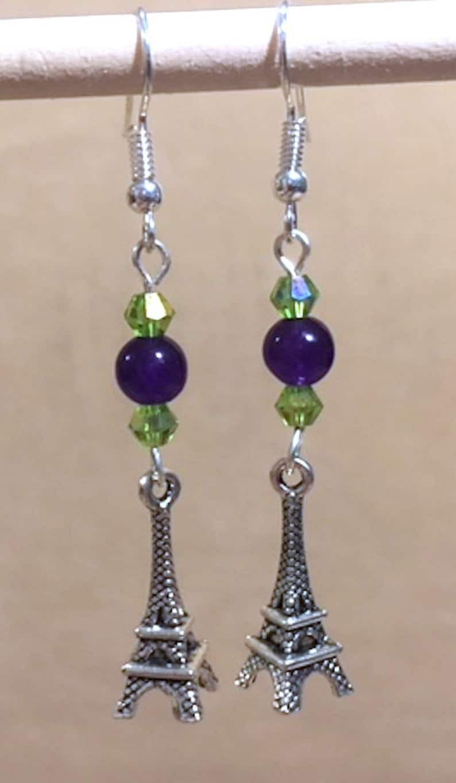 Handmade Beaded Jewelry Crystal Charm Earrings Paris Eiffel Tower Earrings Purple Bead /& Peridot Crystal 3D Eiffel Tower Charm Earring