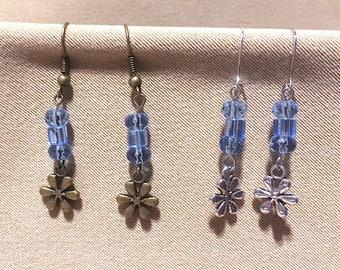 Flower & Glass Bead Earrings, Sky Blue Stacked Bead Earrings w/Silver or Bronze Daisy Charms, Handmade Glass Bead Retro Style Blue Earrings