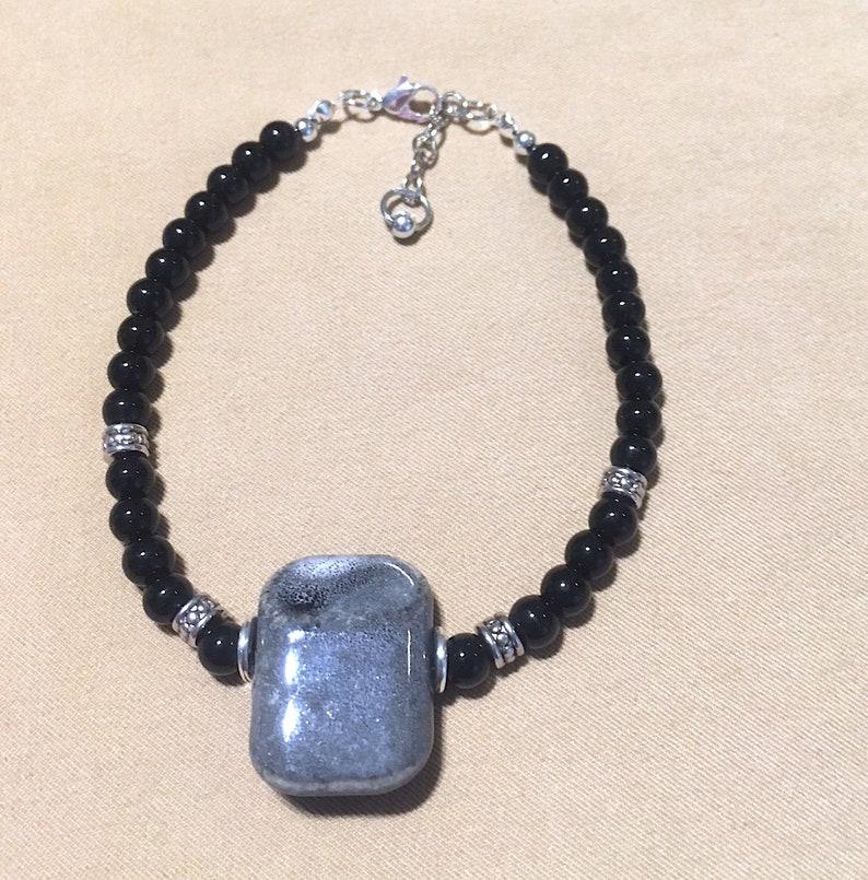 e464e87c66ed5 Black Glass Bead Men's Bracelet, Unisex Plus Size Jet Black Glass Bead  Bracelet - Anklet w/Silver Accents & Unique Gray Ceramic Focal Bead