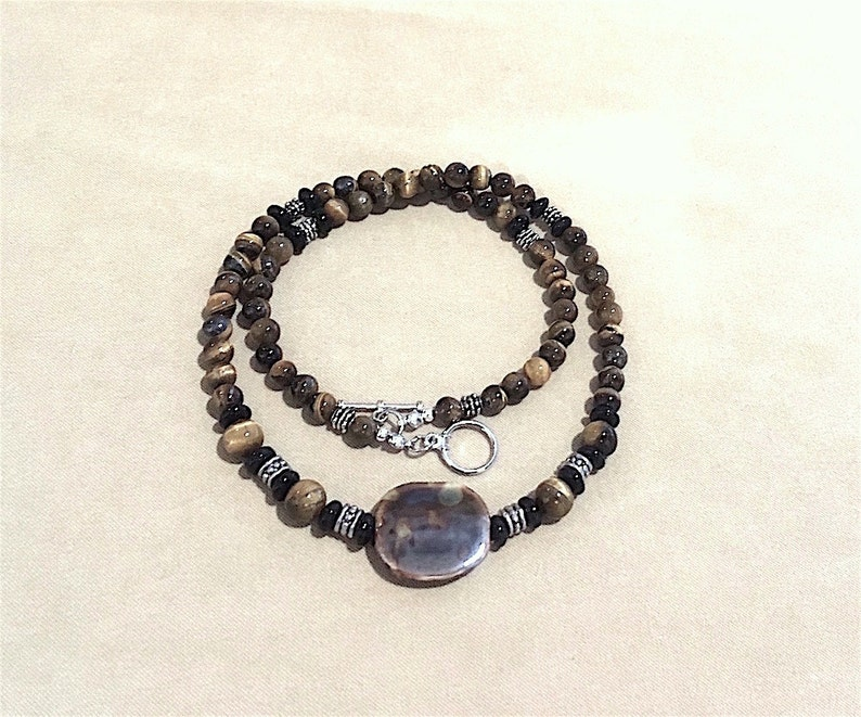 7062a8ed91326 Tiger Eye Men Necklace, Men's Tiger's Eye Jet Black Glass Bead Necklace  w/Silver Accents & Unique Ceramic Focal Bead Men Glass Bead Necklace