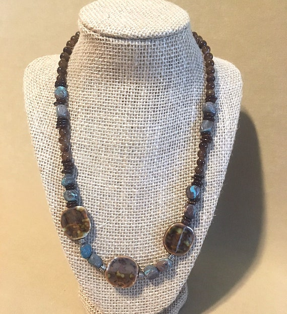 9714d4fa065cb Men's Turquoise Brown Beaded Necklace w/Shell Beads Silver Accents & Unique  Ceramic Focal Beads, Handmade Original Design Unisex Necklace