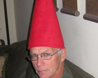 """RED GNOME HAT Wirt 15"""" Tall Assorted Colors Fleece Adult and Child sizes and Stand on Their Own"""