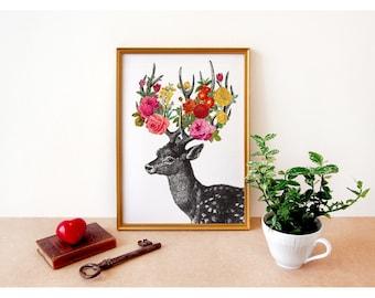 DEER print - art print digital - A4