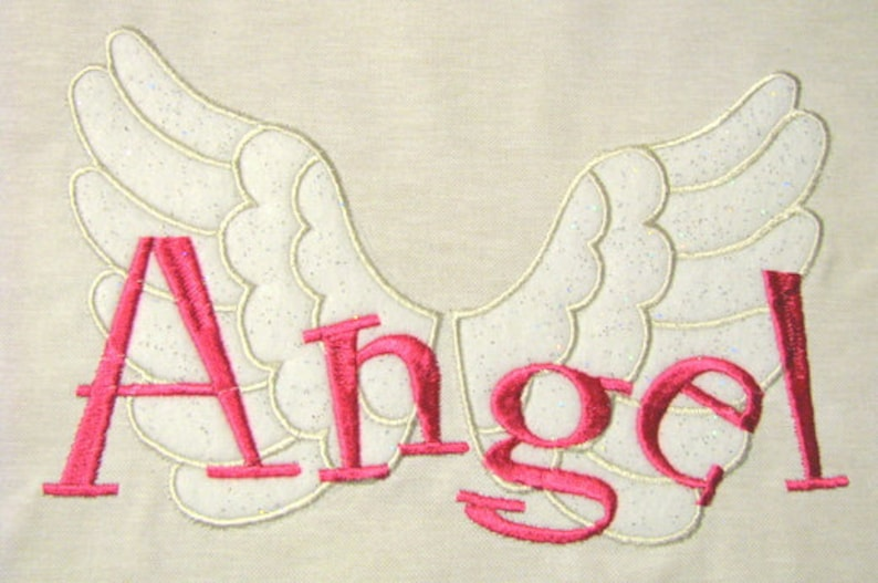 Angel With Wings Machine Applique Embroidery Design Angel Etsy