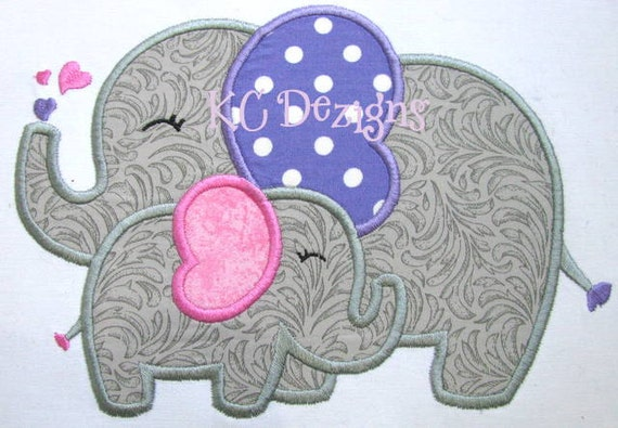 Mommy And Baby Elephant Machine Applique Embroidery Design