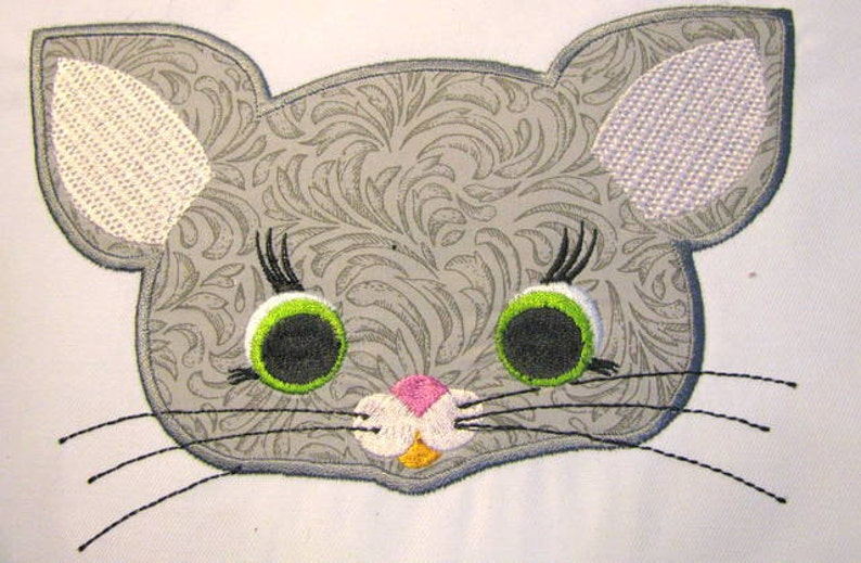 Mouse farm animal face machine applique embroidery design etsy