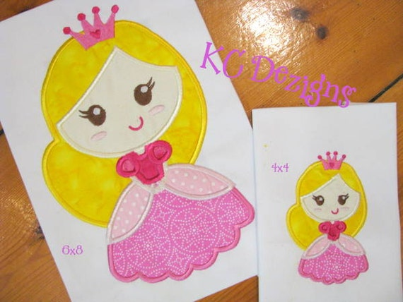 Fairy princess machine applique embroidery design princess etsy