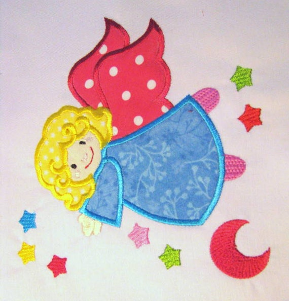 Angel 02 Machine Applique Embroidery Design Angel With Stars Etsy