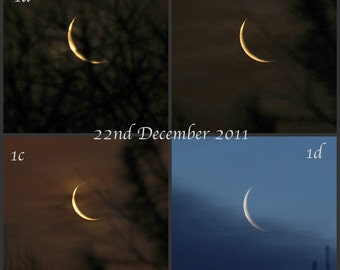Winter Solstice 2011- Choice of Images, waning crescent moon, Yule moon, photo selection
