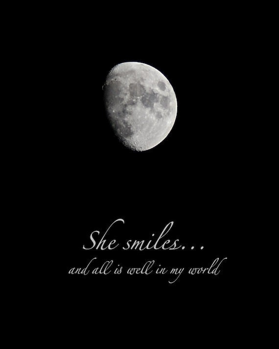 Moon Photo Quote She Smiles Waxing Gibbous Moon Print With Etsy