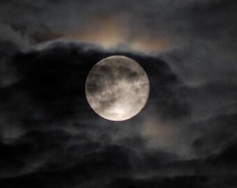 The Moon, Moondancing, Full Moon print, Silver moon photograph, dark night sky, silver moon behind clouds, moon and clouds, moonlight