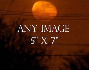 Any Image 5 x 7 inches, moon photography, full moon print, new moon photo, moondreamin, suzi smith photography,