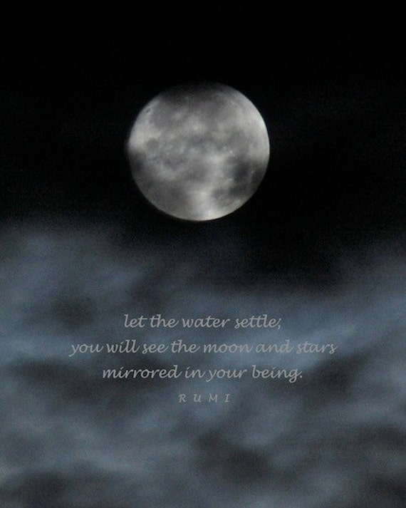 Rumi Moon And Stars Quotation Photo Quote Night Sky Print Etsy