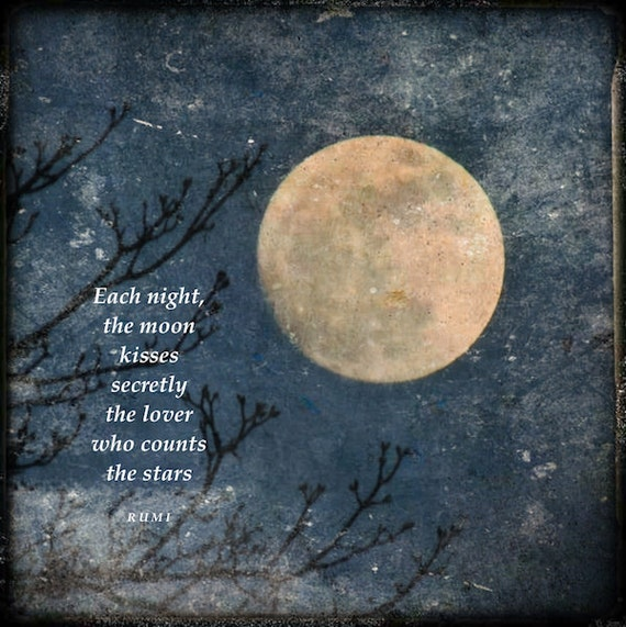 Rumi Quote With Full Moon Moon Love Quote Golden Moon Tree Etsy Delectable Quotes About Full Moon