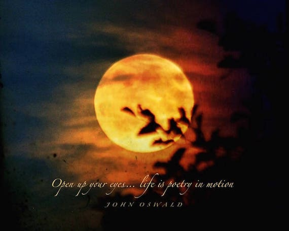Poetry In Motion Quote Moon Photo Quote Print With Love Etsy
