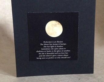 Moon note card, full moon, moonlight, gift card, photo card, black square, moon print, night sky