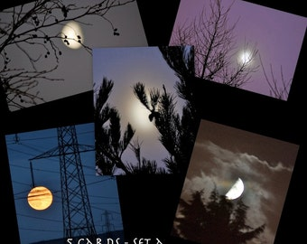 Moon note cards, Set of 5 Solstice Cards, Moon images, Lunar Art, Moon phases, lunar astrology