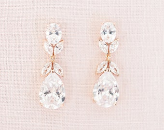 197b1d1d9dfae Rose gold drop earrings | Etsy