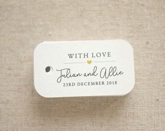 With Love Wedding Favor Tags - Personalized Gift Tags - Bridal Shower - Thank you tags - Party Tags - Favor Bag Tag (Item code: J586)