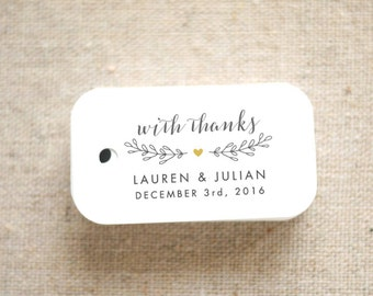 With Thanks Wedding Favor Tags - Personalized Gift Tags - Bridal Shower - Thank you tags - Party Tags - Favor Bag Tag (Item code: J652)