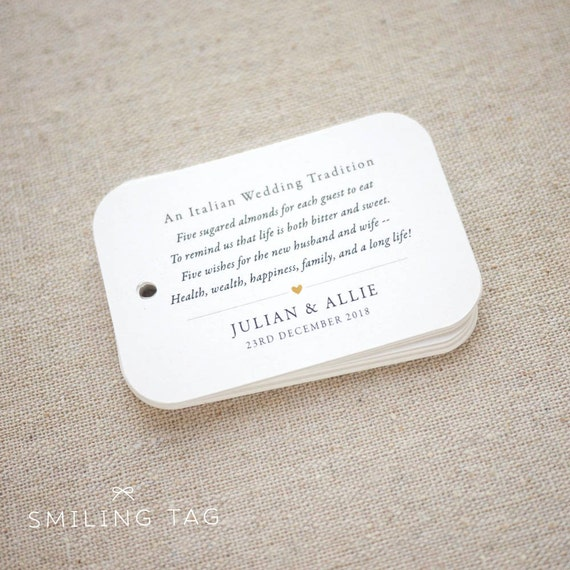 Wedding Bomboniere Jordan Almond Favor Tags Wedding Favor Tag Sugared Almonds Personalized Gift Tags Set of 20 Item code: J816