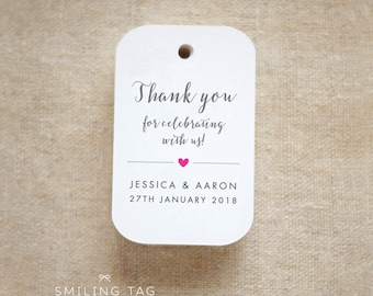 Thank you for celebrating with us Wedding Personalized Gift Tags Wedding Favor Tags Thank you tags - Set of 20 (Item code: J635)