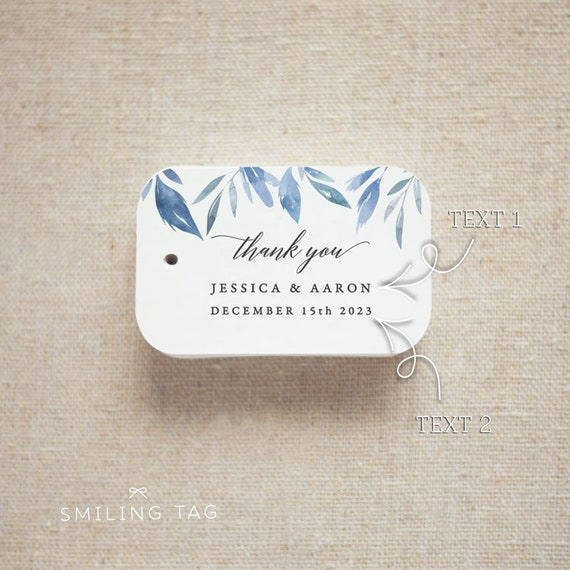 b0c960e0bc85 Thank You Wedding Favor Tags - Personalized Gift Tags - Bridal ...