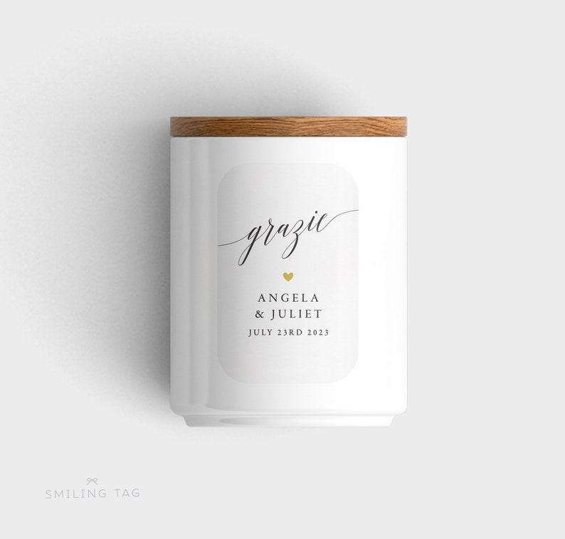 Grazie Thank You Wedding Stickers Item code: S016 Honey Jar Labels,Candy Wedding Favors,Wedding Favor Labels,Wedding Favor Stickers
