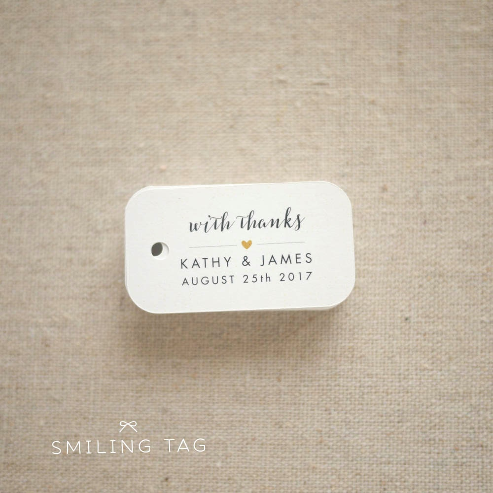 With Thanks Wedding Favor Tags Personalized Gift Tags
