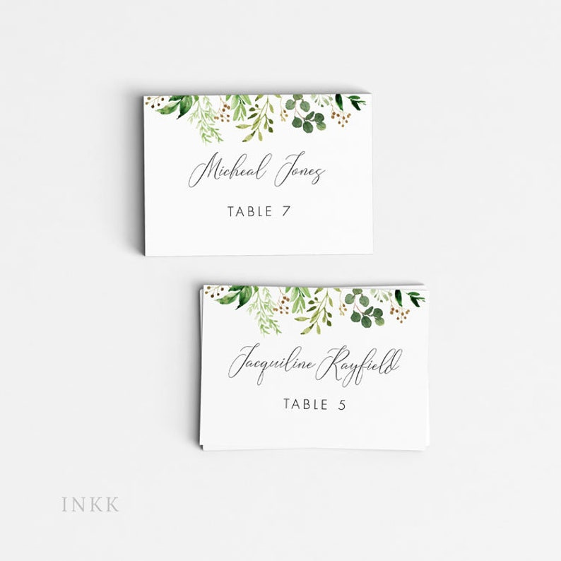 Letter or A4 Size Table Setting Placecards Romantic Greenery Personalized Printable Wedding Place Cards Item code: P1097 Escort Cards
