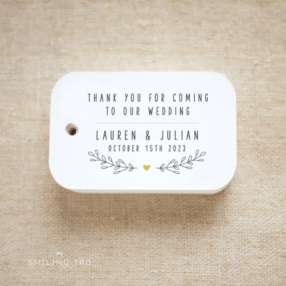 Thank you for coming to our wedding Personalized Gift Tags | Etsy