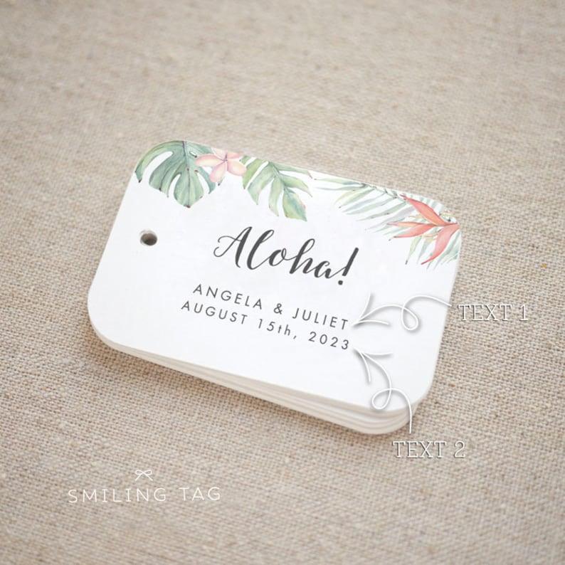 Set of 20 Aloha Gift Tag Tropical Wedding Tag Aloha Favor Tags Hawaii Tropical Aloha Thank you Tags Aloha Party Favor Item code: J772